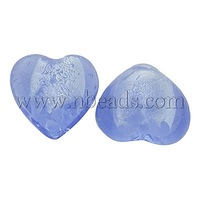 Handmade Silver Foil Glass Beads,  Heart,  Lt.blue,  about 12mm in diameter,  8mm thick,  hole: 2mm