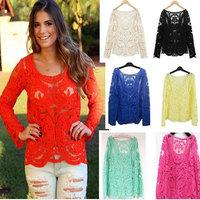 Spring 2014 women blouses& shirts long sleeve ladies lace blouse clearance plus size transparent blusas femininas vintage tops