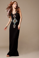 2013 new spring and summer spaghetti strap ultra bohemia maxi long dress one-piece dress Black,Yellow,Blue