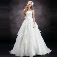 2013 Alice Long White Dress With Rufles Style  ,12 Layer Ruffles Dress , Small Fish Tail, Free Shipping