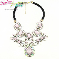 2013 New Luxury Fashion Brand Pink Flower Choker Necklace Chunky Statement Designer Vintage Jewelry For Women Free Shipping