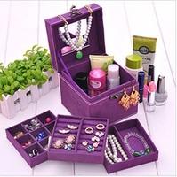 L12cm*W12cm*H12cm  Affirmative Vintage Jewelry Storage Box  Case European Princess Three Layer Jewelry Sets Cosmetics Box Case