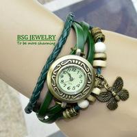 Wholesale discount beautiful butterfly design women's ladies fashion wrist quartz watches bracelet leather belt stock clearance