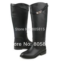Brand Designer Sliver Metal Buckle Knee High Genuine Leather Women Autumn Winter Flats Tall Martin Knight Boots Black Brown