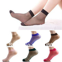 Free Shipping One Size Crystal Sock Sexy Ultra-Thin Stocks 50 Pairs/Lot  10 colors
