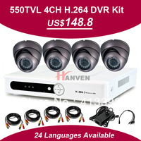 Sony 633/632+NextChip 2030, 550TVL 4ch DVR Kit with 550TVL IR dome Indoor Cameras, 4ch D1 DVR, Security Camera System