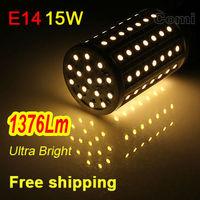 Free shipping led corn Bulb Lamp light 110V-220V 15W E14 1376LM 86 SMD 5630 Warm White white Factory directsale