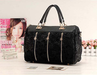 2013 fashion new handbags for womens high quality brand designers genuine PU leather hobo girls black Lace Bags free shipping