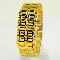 2014 New Fashion Men Gold Lava Iron Samurai Metal LED Faceless Bracelet Watch Wristwatch Drop Shipping