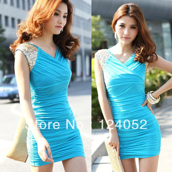 Free Shipping New Women Sleeveless Paillette Shoulder Pleated V-Neck Cocktail Party Mini Dress HR507 DropShipping