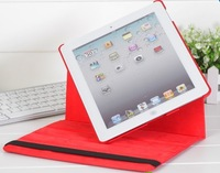FreeShipping    Magnetic Smart Cover leather Case for Apple i pad 2 /3 New i pad with 360 Degrees RotatingStand