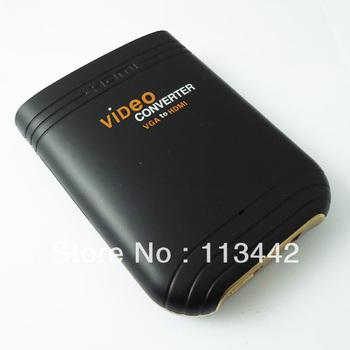 2013 Free shipping video converter  3.5mm Laptop PC VGA Audio to HDMI HDTV AV Converter Adapter Scaler 1080p  hot sale
