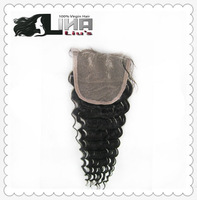 Lace closure brazilian virgin hair deep curly ,10inch-22 inch , natural color best quality DHL fast shipment