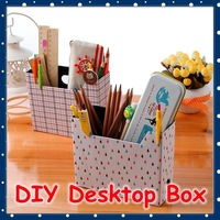 [FORREST SHOP] High Quality 15*5.5*13cm DIY Paper Desk Office Storage Organizer Box (10 pieces/lot) FRS-28