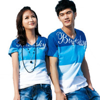 Couples dress Lovers' suits V-neck stripe short-sleeve all-match lovers t-shirt summer 2014 new