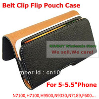 For 5 inch 5.5 inch phone Universal Flip Leather Case with Belt Clip For S4 N7189 N9330 H9500 X920F...Free shipping