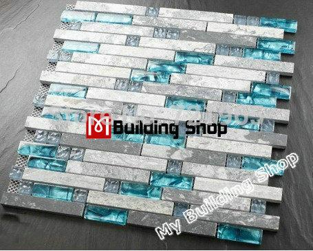 Blue Glass Mosaic Glass Wall Tile Backsplash Kitchen Tile