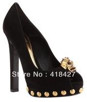 Brand Nubuck Leather Summer Women's Platform Pumps Gold Rivets Skull Head Designer High Heels Peep Toe Sandals Shoes