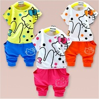 Retail 2013 summer children's clothing / kids cotton cartoon hello kitty t-shirt + shorts 2pcs set baby gril casual clothes suit