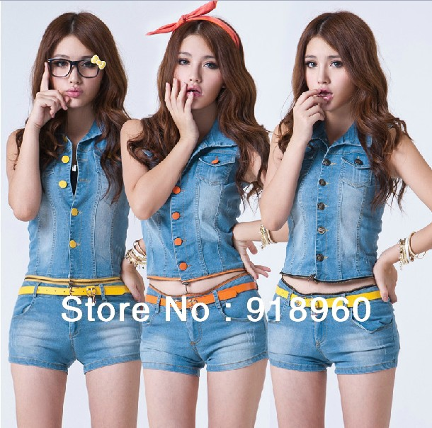 Newest Fashion Women's Short Jeans+vest Jumpsuits/Summer Sexy Ladies' Denim Shorts+Tops/Women's Clothing Set/2 pcs Free Shipping(China (Mainland))