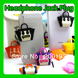 Free Shipping 10pcs/lot Novelty Individual Packaging Fashion Bag Shaped Earphone Jack Plug With Plastic Stopple for Cell Phones(China (Mainland))