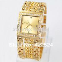 2013 Fully-jewelled Women's  diomand Watch  dress watch Stainless Steel  Bracelet Wristwatch With Logo Japan Movt Clock