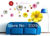 Decorative Combination 3D effect decorative Daisy Flowers DIY Removable Art Decor Home Bedroom Wall Sticker free shipping