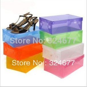 Free shipping 10pcs/lot transparent clamshell shoebox shoebox PP shoe box box(China (Mainland))