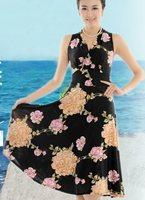 2013 New Short skirt Sexy Multicolor Enchanting V-Neck Dress Lycra cotton Print L-3XL  34 /color 1016