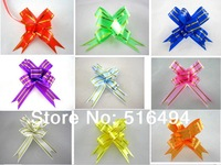 Factory direct supplier Free shipping 1.5cm polyester pull bow wedding decoration butterfly flower bow Christmas gift ribbon