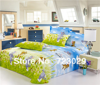 Hight Quality 100% Cotton Classic Tom and Jerry Printed Bedding Set, 3 pcs/4 pc The Cat and The Mouse printing,Free Shipping