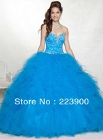 Spectacular Newest Custom Made 2013 Water Melon/Blue Quinceanera Dresses Sweetheart Organza Beads Sweep Ball Gowns