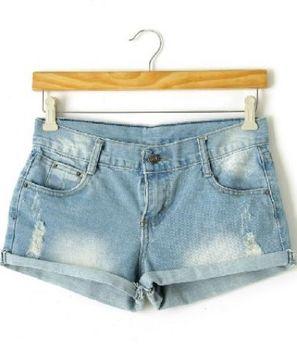 2013 Women's New  Fashion  Autumn/Fall Light Blue Denim Ripped Turn Up Shorts