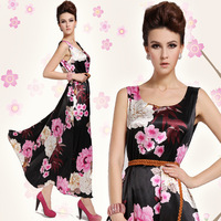 Classic  Retro High Quality Slim Brocade The Peony Print Long Dress For Women(With Blet) 8010#