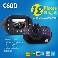 Cheapest DVR Car Canera 1080P Full HD 1.5inch LCD+12 IR Night Vision 120 Degree Wide  Angle Motion Detect C600 Novatek Chip