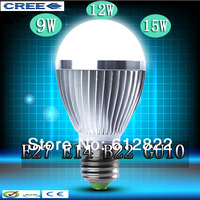 Factory diectly sale 5pcs/lot led bulb Bubble Ball Bulb globe bulb E27 GU10 B22 E14 9W 12W 15W AC85-265V led lamps free shipping