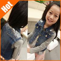 New arrival 2014 spring and autumn girl denim vest children's clothing kids baby the waistcoat short jacket