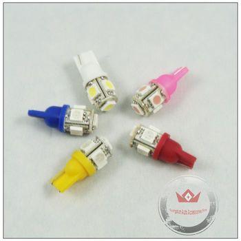 Free shipping 10pcs White DC 12V T10 W5W Bulbs LED Light Auto LED bulb W5W 194 168 501 921 5 SMD 5050 Led car light