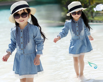 Girls Kids Dress 3 7Y Casual Lovely Denim Blue Beautiful Lace Princess Dress