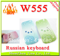 HOT Russian Keyboard! Cheap W555 Flip Lady Phone Fresh color with LED Music Light Dual Sim girl Phone 3 color