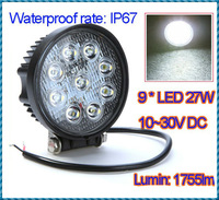 10~30V /27W 9 LED Lumin 1755lm Aluminium alloy Work Light Fog Light for Jeep SUV ATV Off-road Truck Free Shipping