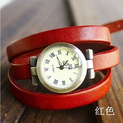 christmas gift sale 2012 New wholesale vintage Genuine Cow leather fashion Wrap Women watch ladies wrist watch KOW025(China (Mainland))
