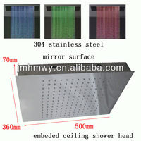 led shower,500*360mm*1.5mm embeded Recessed ceiling led rainfall shower head