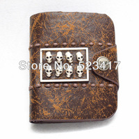 Leather purse Cross skull rivets retro leather wallets Cool fashion unisex punk cowboy wallets wholesale stylish skull wallets
