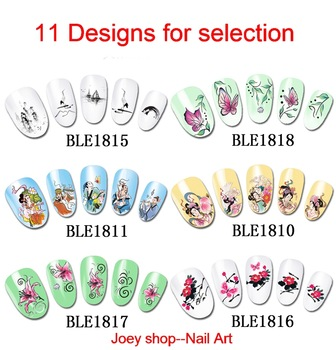 New 11 Designs Nail Art Water Transfer Sticker Decals Geisha Chinese Style 30 sheets/lot Free Shipping