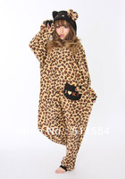 Free Shipping One Piece Leopard Coffe Hello Kitty Cat Winter Animal Pajamas Adult Onesie For Halloween Women Costumes For Sale