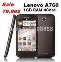 Original Lenovo A760 Quad Core WCDMA Android Mobile Phone 4.5 inch 5.0MP GPS 1GB RAM 4GB ROM Qualcomm CPU Unlocked cell phones