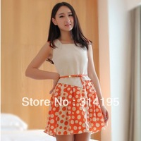 Free Shipping Promotion New arrive Hot !! Summer O-ncek Above Knee-Length Lady Dress Tank Sleeveless Dot Dress S,M,L,XL dws8456