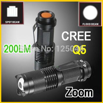 Mini High Power CREE Q5 LED Flashlight Zoom Adjustable Focus Torch 200 LM 1*AA