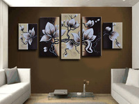 3 Size Free Shipping 100% Hand painted flower 5pcs group oil painting High Quality Wall Art on Canvas wholesale/A-083